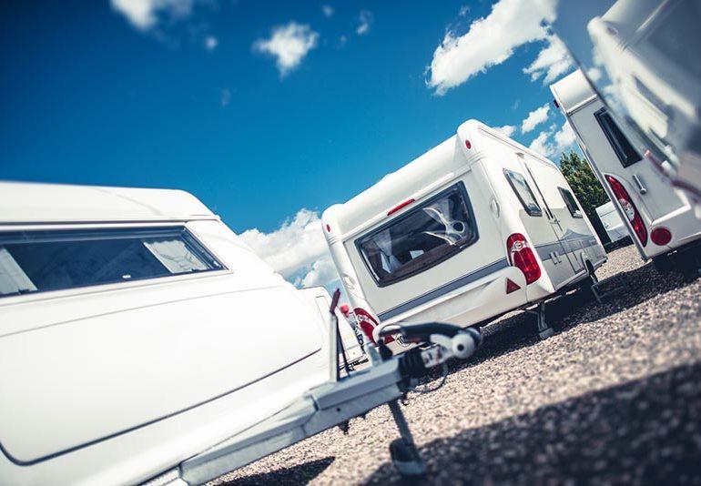 Caravans lined up in caravan park